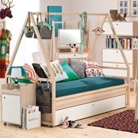 Product photograph showing Vox Spot Kids Tipi Bed Frame With Trundle Drawer In White