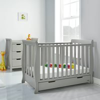 Obaby Stamford Mini Sleigh Cot Bed 2 Piece Nursery Set in Warm Grey