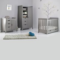 Obaby Stamford Mini Sleigh Cot Bed 3 Piece Nursery Set in Taupe Grey