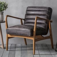 Product photograph showing Safir Leather Armchair - Antique Ebony