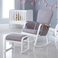 Product photograph showing Ickle Bubba Dursley Rocking Chair And Stool - Pearl Grey