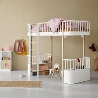 Oliver Furniture Wood Childrens High Loft Bed in White and Oak