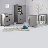 OBABY STAMFORD SLEIGH COT BED 3 PIECE NURSERY SET in Taupe Grey