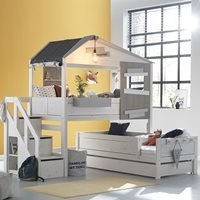 Product photograph showing Lifetime The Hideout Corner Bunk Bed With Steps - Lifetime White