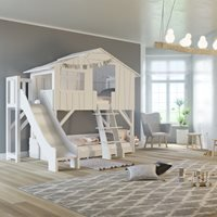 Mathy by Bols Treehouse Bunk Bed with Platform and Slide - Mathy Moss Grey