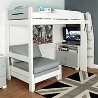 Urban Grey High Sleeper 3 Bed in White and Grey
