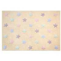 Product photograph showing Lorena Canals Tricolour Stars Washable Kids Rug - Grey With Blue Stars