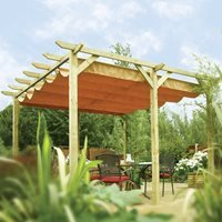 Product photograph showing Rowlinson Verona Outdoor Sun Canopy In Natural Timber