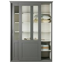 Vince Display Cabinet with Sliding Doors in Grey by Woood