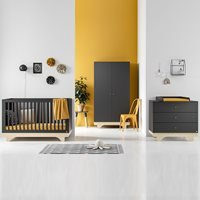 Vox Playwood Cot Bed 3 Piece Nursery Furniture Set - Graphite