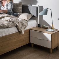 Vox Simple Customisable Bedside Table with Drawers - Oak Effect