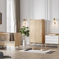 Vox Vintage 3 Piece Cot Nursery Furniture Set in a Choice of Oak or 5 Pastel Colours - White