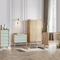 Vox Vintage 4 Piece Cot Nursery Furniture Set in a Choice of Oak or 5 Pastel Colours - Green