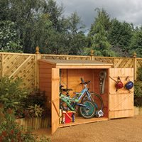 Product photograph showing Rowlinson Wooden 6ft X 3ft Bike Shed In Honey Brown