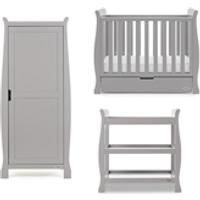 Obaby Stamford Sleigh Space Saver Cot 3 Piece Room Set in Warm Grey