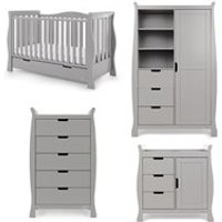 Obaby Stamford Luxe Cot Bed 4 Piece Nursery Furniture Set - Warm Grey