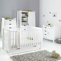 Obaby Stamford Sleigh Cot Bed 4 Piece Nursery Furniture Set - Taupe Grey