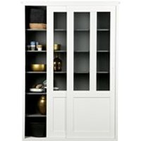 Product photograph showing Vince Display Cabinet With Sliding Doors In White By Woood