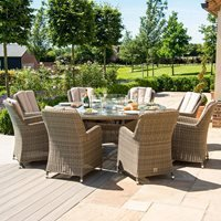 Maze Rattan Winchester Round Fire Pit Dining Set with Venice Chairs