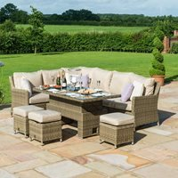 Maze Rattan Winchester Corner Dining Set with Ice Bucket and Rising Table