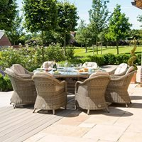 Maze Rattan Winchester Round Fire Pit Dining Set with Heritage Chairs