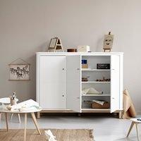 Oliver Furniture Wood Multi Storage Cupboard in White and Oak