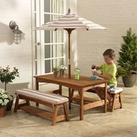 Kidkraft Outdoor Table and Bench Set with Cushions and Umbrella - Navy