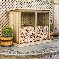 Garden Village Superior Treated Outdoor Wooden Log Store - Double