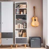 Product photograph showing Vox Concept Narrow Bookcase In White Grey