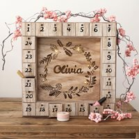 Personalised Wooden Wreath Advent Calendar and Light Box