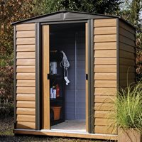 Rowlinson Woodvale Metal Garden Shed in Wood Effect