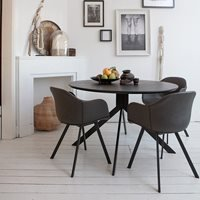 Product photograph showing Woood Bruno Round Dining Table - Marble Look