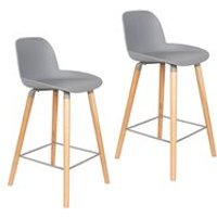 Product photograph showing Zuiver Pair Of Albert Kuip Retro Moulded Counter Stools In Light Grey