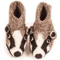 Children's Animal Slippers in Billie Badger Design - Large
