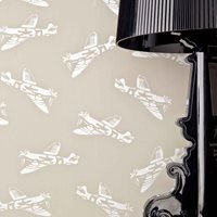 Product photograph showing Designer Kids Wallpaper- Spitfire In Grey Brown