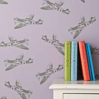Product photograph showing Designer Kids Wallpaper- Spitfire In Lilac Green