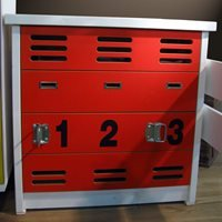 Product photograph showing Mathy By Bols Kids Chest Of Drawers In New Worker Design - Mathy Red