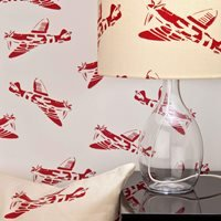 Product photograph showing Designer Kids Wallpaper- Spitfire In White Red