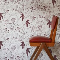 Hand Printed Highwire Wallpaper (colour: Grape)