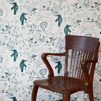 Hand Printed Highwire Wallpaper (colour: Petrol)