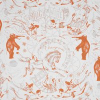 Hand Printed Highwire Wallpaper (colour: Tangerine)