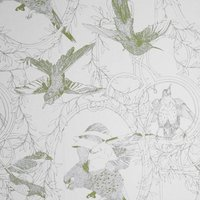Taxidermy Birds Hand Printed Wallpaper (colour: Olive)