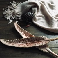Blush Porcelain Feather with Gold Leaf