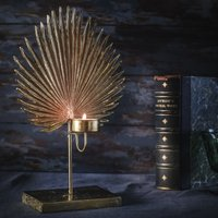Gold Fan Palm candle holder