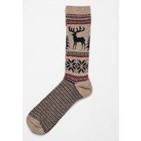 Deer Fair Isle Sock In Beige