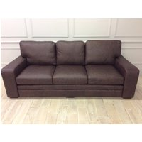 Product photograph showing Sloane 4 Seater Sofa In Saloon Dark Brown Leather