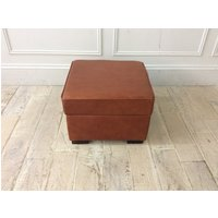 Product photograph showing Sloane Small Ottoman In Crystal Waxy Bruccuito Leather