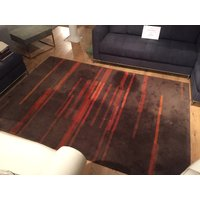 Product photograph showing Orange Stripe Wool Rug T W