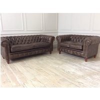 Product photograph showing Harrington 3 Seater And 2 Seater Sofa In Distressed Vintage Analine Truffle Leather