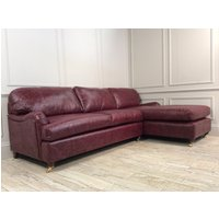 Helston 3.5 Seater Chaise Leather Sofa Bed in Distressed Vintage Aniline Oxblood